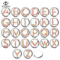 En gros de haute qualité A-Z Lettres Alphabet Snap Bijoux 10 / 12/14 / 16/18/20 / 25mm Cabochan Cabochan Fit Bracelet Bracelet de charme mixte
