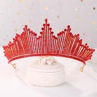 Hair Clips & Barrettes Retro Red Tiara Head Ornament Bridal Jewelry Rhinestone Crown Headband Birthday Bride Wedding Travel Souvenir