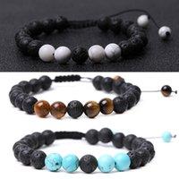 8mm Turquoise Tiger Eye Lava Stone Beads Bracelets Handmade braided Adjustable Men women Energy Stones Couple Distance Bangles Jewelry