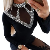 Sale Women Turtleneck Beading T-shirt Solid Knitted Autumn Tee For Ladies Shirts Sexy Lace Mesh Patchwork Top Female Clothes D30 Women's