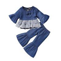 Euro American Girl Kid Kleidung Set Denim Langarm T-Shirt + Flare Hosen Kinder Kleidung Casual Zwei Stück Sets