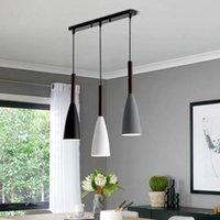Artpad 1 ou 3 cabeças Nordic Modern Pingente Lâmpada Luzes Branco Lâmpada de Ferro Preto E27 LED Lâmpadas de Suspensão Iluminação Sala de estar