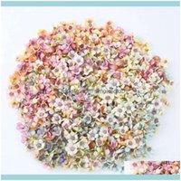 Decorative Wreaths Festive Party Supplies & Garden50Pcs Set 2Cm Daisy Flower Heads Mini Silk Artificial Flowers For Wreath Scrapbooking Home