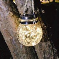 2PCS Solar Crack jar pot string light outdoor chandelier solar lawn lamp Modern lawn garden landscape led yard light