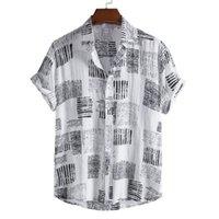 Camicie casual da uomo Camicia biancheria Leviortin Summer Beach traspirante allentato per uomo manica corta hawaiian stampata