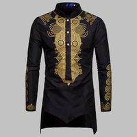 Homens Casuais Camisas Médio Longo Muçulmano Longo Robe Africano Homens Floral Impressão Black Sleeve Camisa Botão Plus Size Dubai Dashiki Homem Tops