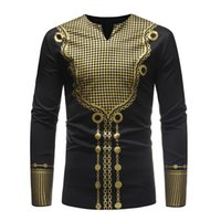 Platinum Central Printed Original Tribal Pattern Men's African Big Compression Long Sleeve T-shirt Fashion Novelty Luxury Comfortable Lightweight and Breathable