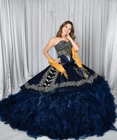 vestidos de 15 años Ruffles Skirt Navy Blue Quinceanera Dresses lace-up corset Applique Beaded Corset Back Ball Gown Sweet 16 Dress