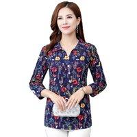 Camisa feminina de meia-idade e feminina de verão Camisas de verão Lapela Manga comprida Impressão Casual Blusa Feminino Tops Vestido Mãe 5XL Blusas