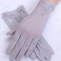 Five Fingers Gloves Sexy Summer Women UV Sunscreen Short Sun Screen Pearl Flowers Thin Silk Lace Touch Lady Driving Gifts