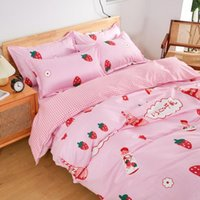 Bedding Sets Milk Strawberry Youthful Style Home Textile Soft Duvet Cover Bed Sheet Pillow Case Single Double Queen King For Set