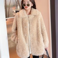 Women's Fur & Faux 2021 Winter Solid Women Natural Coat Lady Real Sheep Shearling Jacket Female Turn-down Collar Plus Size Outerwear K388