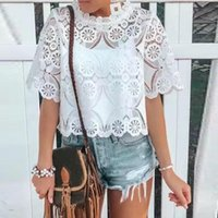 Women's T-Shirt Women T-shirts Fashion High Y2k Tops Collar Lace Hollowing Out Half Sleeve Ropa Mujer Top Camisetas Harajuku Femme Tshirts
