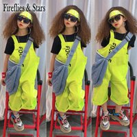 Summer Girls 2 Pcs Set Baby Tee Shirt + Suspender Pants Kids Tracksuits Children Activewear Clothes Green Strap Letter 3 To 12 Y Clothing Se