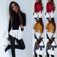 Womens Shirt Long Sleeve Casual Loose Top Irregular Hem Striped Stitching Patchwork Turtle Neck False Two Pieces