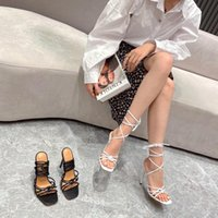 Dress Shoes Summer Sandals Women 2021 Fashion High Heel Square Toe Ankle Strap Plus Size 42 Muller Chaussure Femme