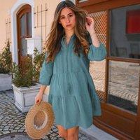 섹시한 비키니 커버 업 플러스 사이즈 블루 코튼 튜닉 캐주얼 V 넥 여름 해변 드레스 Womenbeachwear 수영복 Q1260 드레스 커버