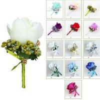Wedding Flowers 1Pc Women Men Artificial Rose Flower Brooch Bouquet Corsage Glitter Rhinestone Ribbon Lace Classic Prom Boutonniere