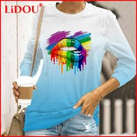 Women's T-Shirt Round Neck Lips Printing Gradient Tops Casual Loose Long Sleeve Slim Female 2021 Autumn Fashion Clothing