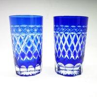 Japonês estilo edo kiroko saquê conjunto homem soprado vidro boêmio cobalto azul corte para limpar óculos cerveja xícaras xícaras de café suco de copo de vidro