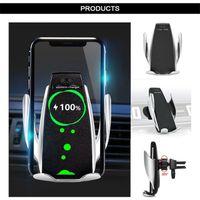 S5 Универсальный автоматический зажим Беспроводное автомобильное зарядное устройство Держатель для зарядного устройства Приемник Монтаж Умный датчик 10W быстрая зарядка зарядки для iPhone Samsung Phones DHL
