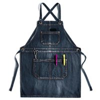 Aprons Solid Denim Cafe Cooking Pocket Chef Pinafore Hairdresser Apron House Cleaning Bibs Women Master For Kitchen Accessories