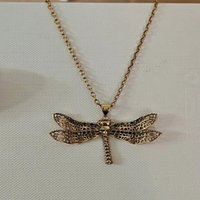 New Dragonfly Pendant in 2021, skull head inlaid with black diamond necklace, female clavicle chain fashion temperament