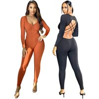 Women Jumpsuits Rompers fall winter clothes cycling jogger fitness sexy club deep-v neck solid color backless leggings full-length pants sportswear cross belt 01727