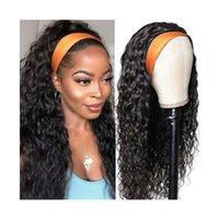 Perruques de bandes de bandes Bandeaux Perruques Perruques pour femmes Black Wank Wave Glus Bandeau Glus Wigs Humains Cheveux