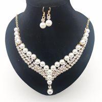 Brincos colar strass pérola bridal jóias conjuntos de prata banhado a declaração de cristal casamento conjunto de presente