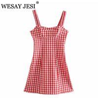 Casual Dresses WESAY JESI Women's Clothing 2021 Summer Mini Dress Woman Sexy Elastic Back Fashion Vintage Red Plaid Chic Sundress Side Zippe