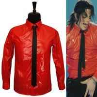 T-shirts MJ till minne av Michael Jackson Red Patent Leather Farlig Bad Jam tröja för festgåva Halloween F8cu