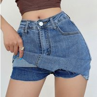 Damen Shorts Womengaga Amerikaner Unregelmäßige Wolldenim Hohe Taille Slim Skinny Hüfte Skorts Sexy Koreanische Frauen Mini 0PN3