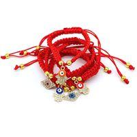 Faite à la main tressée chinoise bracelets de cordes rouges oeil paume perle protection santé chanceux bonheur charme bijoux d'anniversaire