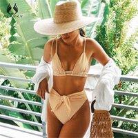 Купальники Plavky Sexy High Haft Reb Bikini Set Желтая полоса Batsuit Галстук для женщин Купание Мода Женский Пляжный Перетащите плавание