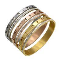 Jewelry Romaji diamonds Brazaletes Pulseras Vintage 18k gold Plated Bangle Bracelet for Men Stainless Steel Cuff Speedometer 3420 Q2