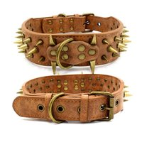 Leder Hundehalsband Spiked Nolided Pet Collar Black Red Spikes 2 Zoll breit Für mittlere große Rassen Hunde Pitbull 1234 V2
