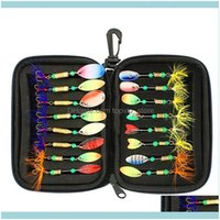 Sports & Outdoors16Pcs Fishing Lures Sequins Spoon Baits Set With Eva Foam Container Zipper Tackle Storage Bag Treble Hooks Aessories Drop D