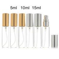 5ML 10ML 15ML Transparent Thin Glass Spray Bottle Sample Glass Vials Portable Mini Perfume Atomizer Gold Silver Cap