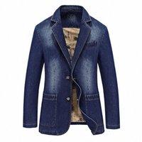M-4XL maschio casual varsity denim blazer giacca di cotone uomini autunno inverno moda marca windbreak business caldo jean lungo cappotto z9o7 #