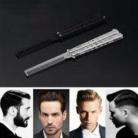 Saç Fırçalar Katlanabilir Tarak Paslanmaz Çelik All-Steel Acemi Kelebek Bıyık Brushe Kuaförlük Styling Aracı