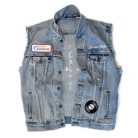 Giacche da uomo Mens Cactus Jack Jacket Lavato Denim ricamo senza maniche hip hop maschio abbigliamento uomo
