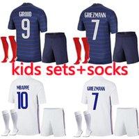 Kids France Mbappe Soccer Jerseys Kits Kits 20 21 22 Grizmann Pogba كرة القدم القمصان 2021 2022Pavard Kante الكبار الأولاد مجموعة كاملة موحدة