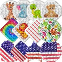American Flag Push Pop It Fidget Toy Sensory Push Bubble Fidget Sensory Autism Special Needs Anxiety Stress Reliever Office Workers DWF7007