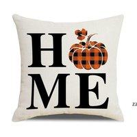 Хэллоуин осень наволочка 18x18inch Buffalo плед тыквенные листья подушки декоративный бросок фермерский дом благодарения осенью подушки HWD10485