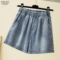 Pantalones vaqueros cortos Spodenki Summer Plus Tamaño Tamaño Denim Shorts Mujeres Moda Flojo Pantalones casuales Elástica High Cintura 9741 Mujeres