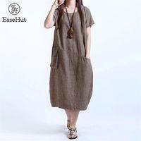 EaseHut O-neck Short Sleeve Women's Summer Dress One Piece Pockets Loose Casual Midi Dress Female 4XL 5XL Plus Size Vestido 210409