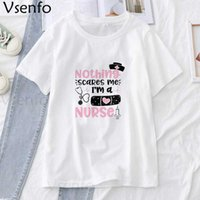 Hemşire Yaşam T-shirt Kadın Yaz Komik Grafik T Shirt Beyaz Kısa Kollu Tee Gömlek Femme Harajuku Kadın T-Shirt Top Y0606