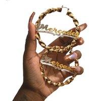 Dropshipping Vendor Personalizza 3D Nameplate Orecchino Doppio oro placcato oro personalizzato Qualsiasi nome oversize Hiphop Sexy Big Hoop orecchini