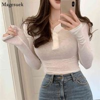 Korean Casual V-neck Long Sleeve Women T Shirt Spring Button Solid Slim Woman T-Shirts High Quality Cotton Tee Shirts 14404 210430
